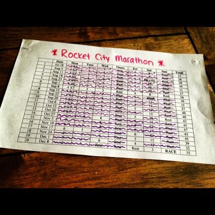 Running, marathon, taper, training, Rocket City Marathon, Huntsville, Alabama