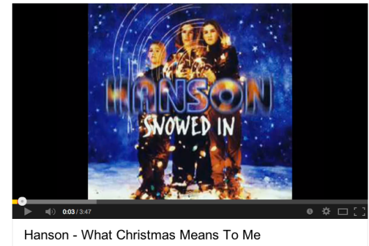 Christmas songs, Mariah Carey, Alvin and the Chipmunks, Hanson, Dominick the Donkey, I Want A Hippopotamus for Christmas